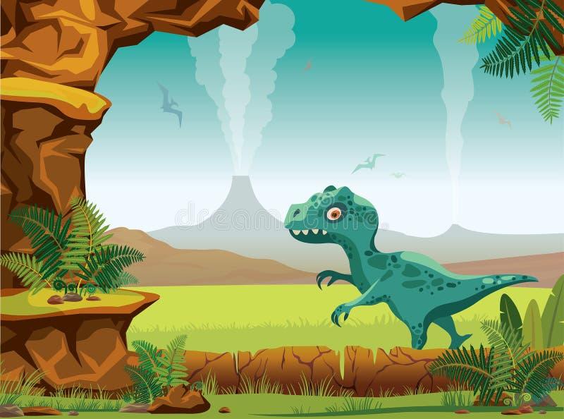 Prehistoryczny krajobraz - jama, wulkan, dinosaury, tyranozaur ilustracja wektor