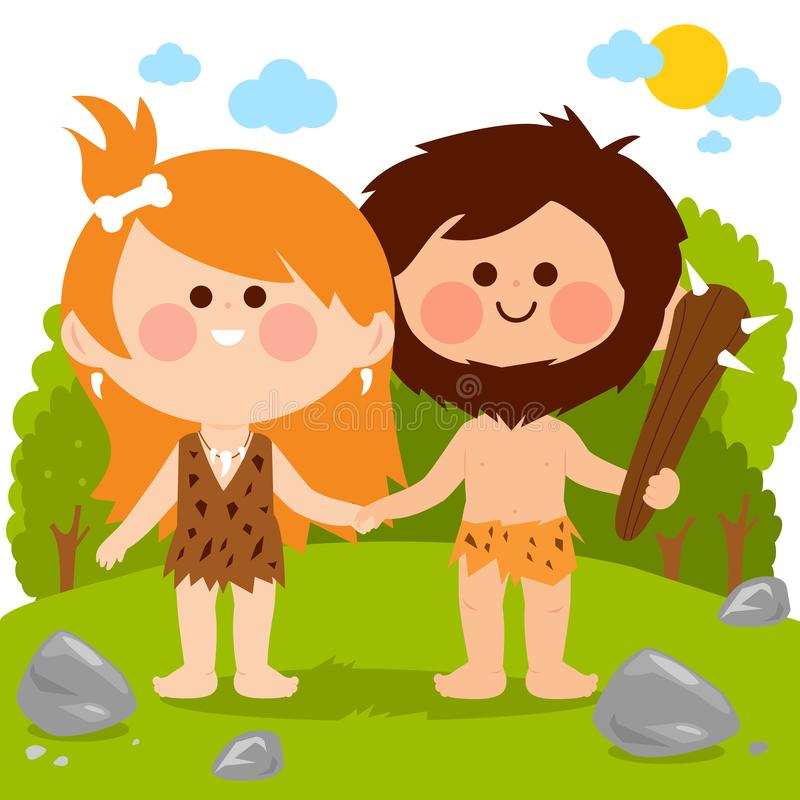 Prehistoryczny krajobraz z caveman pary mienia rękami ilustracja wektor