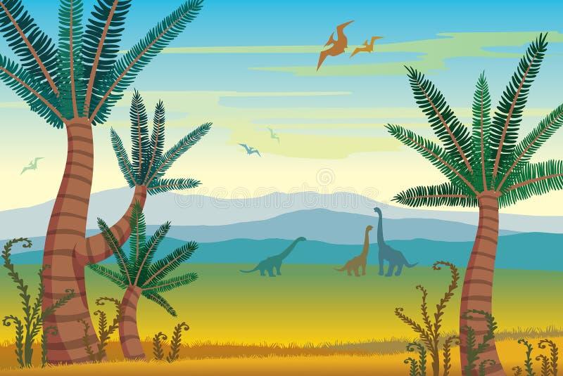 Prehistoryczny krajobraz z dinosaurami, górami i roślinami, royalty ilustracja