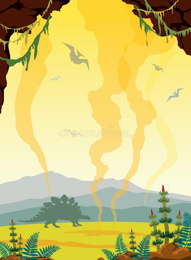 Prehistoryczny krajobraz z jamą, dinosaurami i gayser, ilustracja wektor
