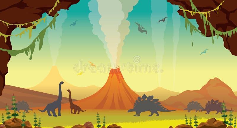 Prehistoryczny krajobraz z jamą, dinosaurami i wulkanami, royalty ilustracja