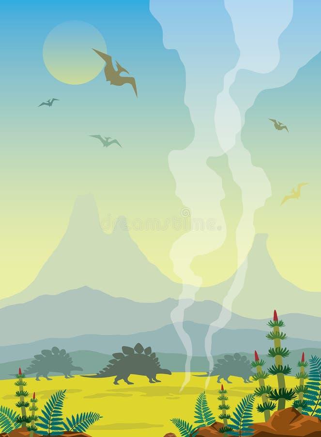 Prehistoryczny krajobraz z wulkanem, dinosaurami i gayser, royalty ilustracja