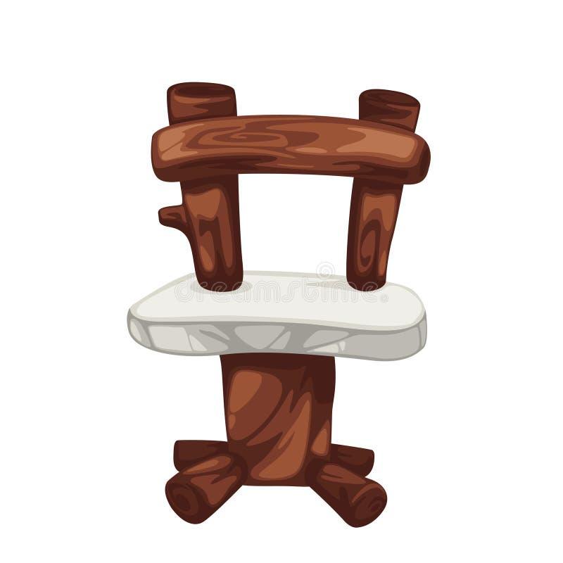 prehistoryczny krzesła drewno ilustracja wektor