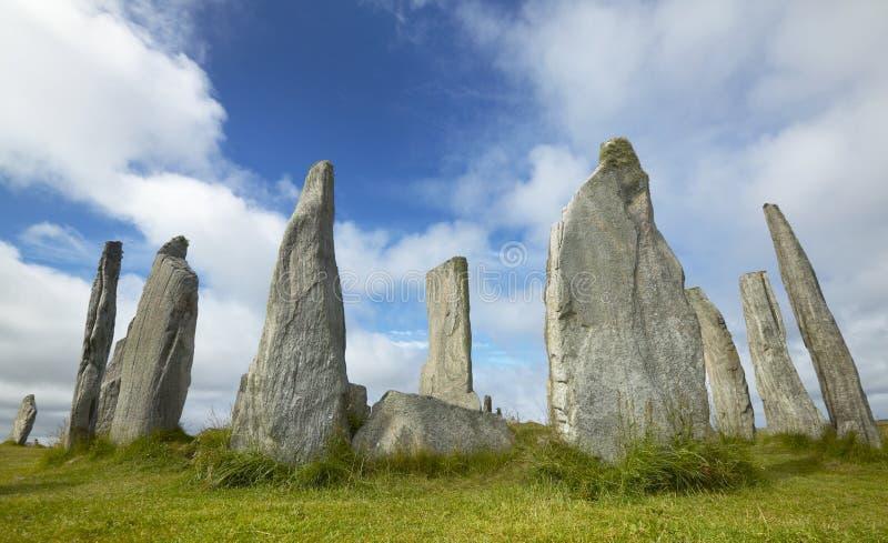 Prehistoryczny miejsce z menhirs w Szkocja Callanish Lewis wyspa zdjęcie royalty free