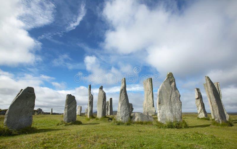 Prehistoryczny miejsce z menhirs w Szkocja Callanish Lewis wyspa fotografia stock