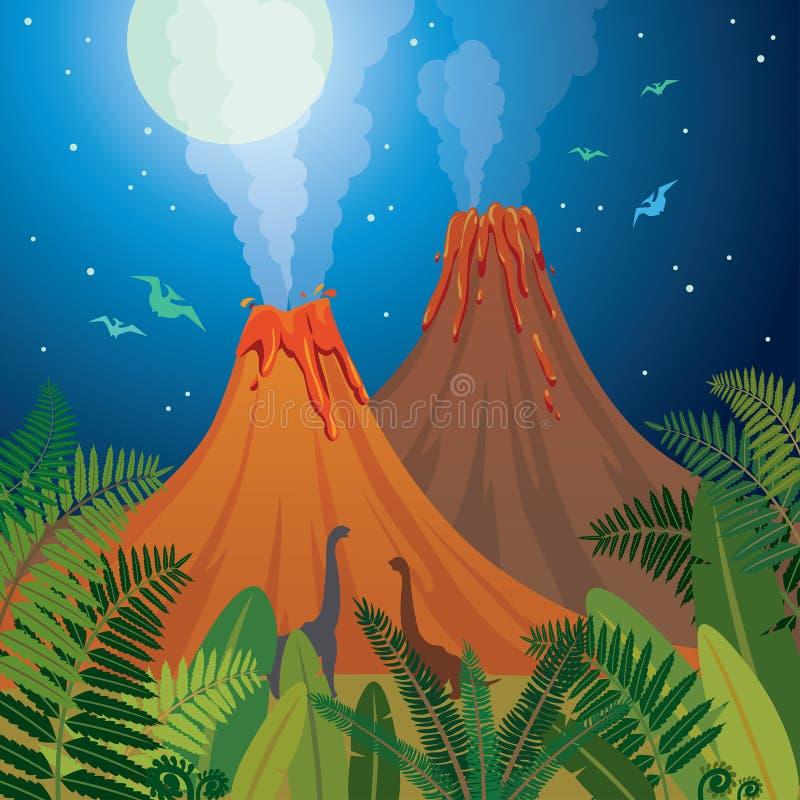 Prehistoryczny natura krajobraz - volcanoes, dinosaury, paproć ilustracji