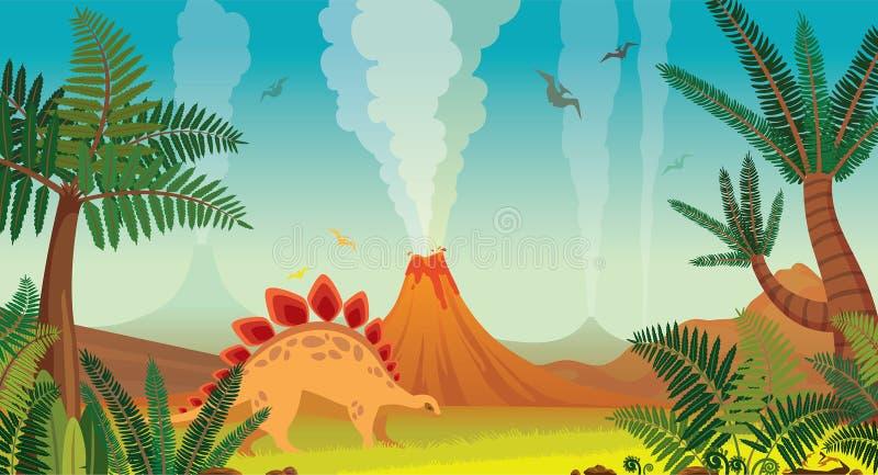 Prehistoryczny natura krajobraz - volcanoes, dinosaury, rośliny ilustracja wektor