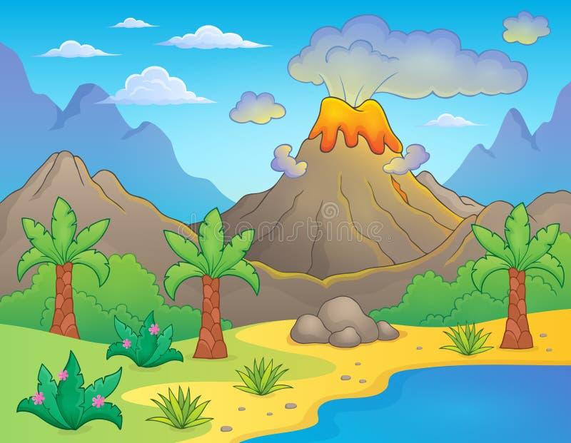 Prehistoryczny tematu krajobraz 1 ilustracja wektor