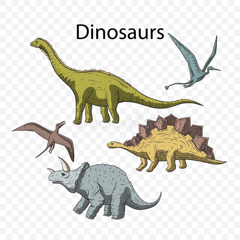 Prehistoryczny wektorowy Dino set ilustracja wektor