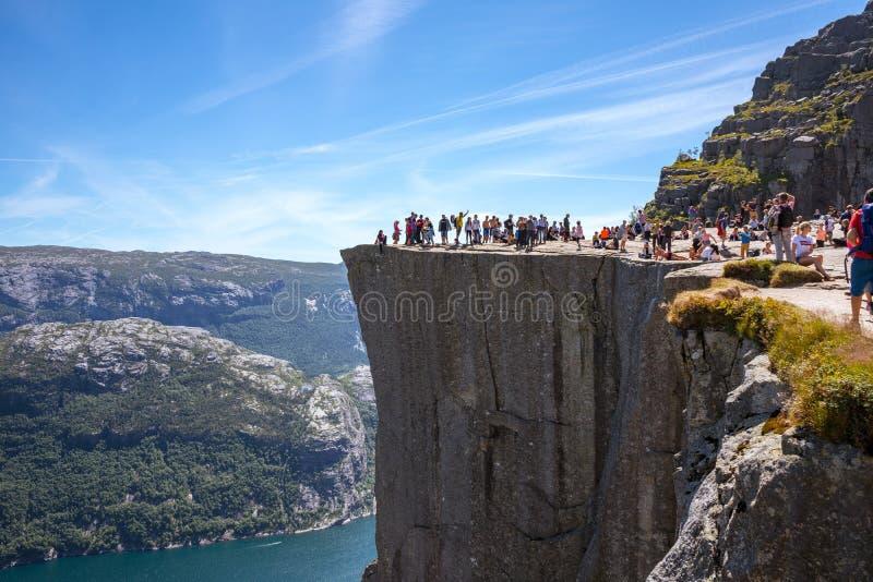 Preikestolen - famous hiking destination on the edge of Lysefjord near Stavanger royalty free stock photos