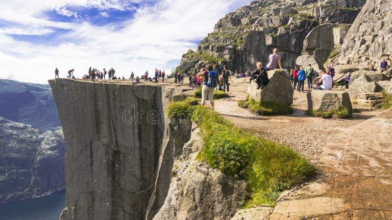 Preikestolen lub ambony skała, Norwegia obraz stock
