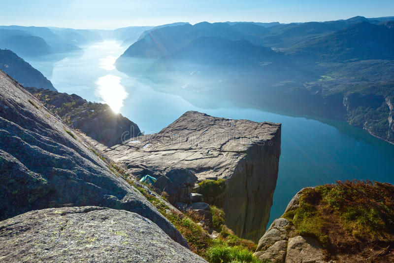 Preikestolen massive cliff top (Norway) royalty free stock photography