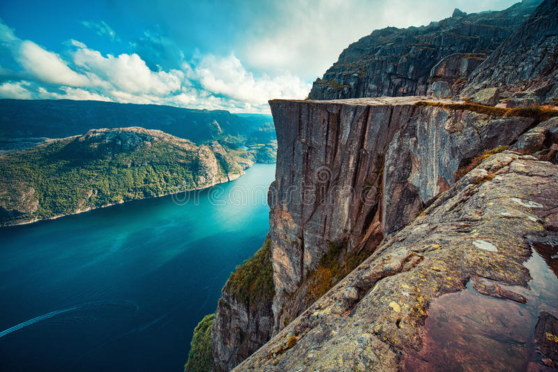 Preikestolen in Norway. Lysefjord and Preikestolen cliff summer view in Norway with no people stock image