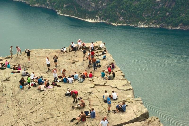 Preikestolen (roche de pupitre) en Norvège photographie stock