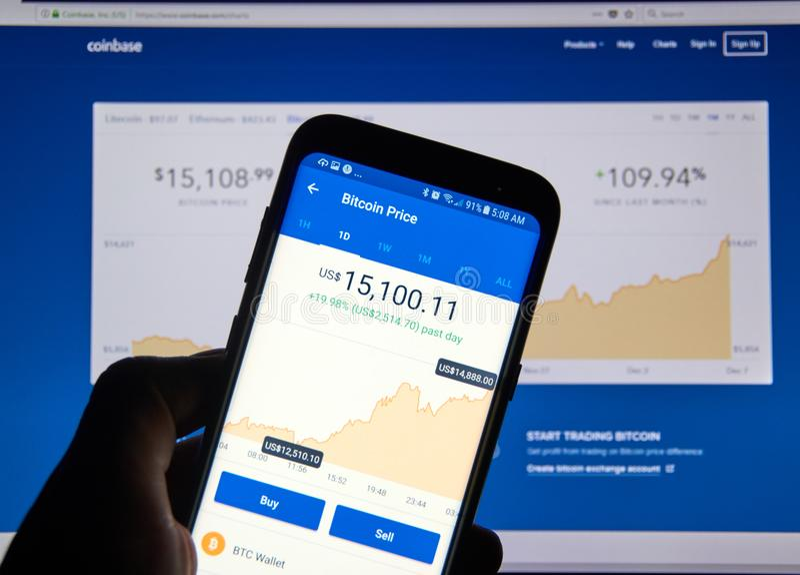 Preis Bitcoin USD auf Coinbase androider APP stockfotografie