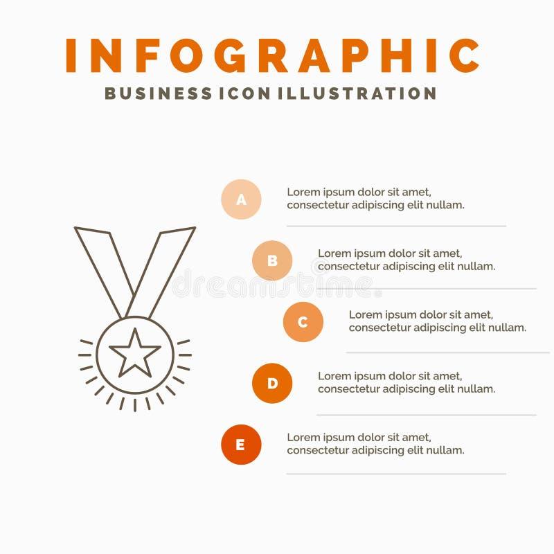 Preis, Ehre, Medaille, Rang, Ansehen, Band Infographics-Schablone für Website und Darstellung Linie graue Ikone mit Orange stock abbildung