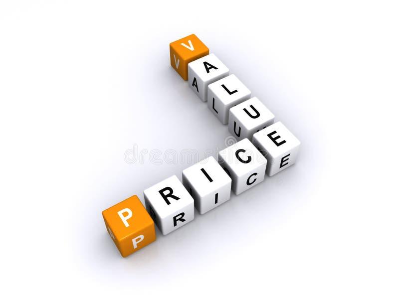 Preis und Wert lizenzfreie abbildung