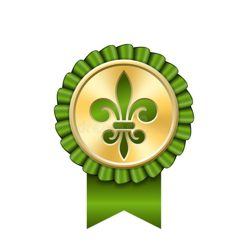 Preisband-Goldikone Goldene Medaille, Entwurf Fleur de Lis lokalisierte weißen Hintergrund Antike königliche Lilie Symbolsieger stock abbildung