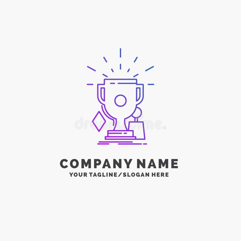 Preise, Spiel, Sport, Trophäen, Sieger purpurrotes Geschäft Logo Template Platz f?r Tagline lizenzfreie abbildung