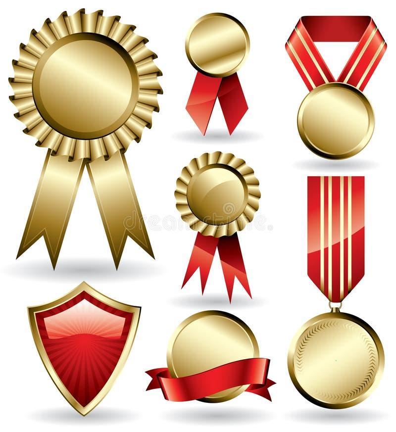 Preisfarbbänder und -medaillen stockfotos