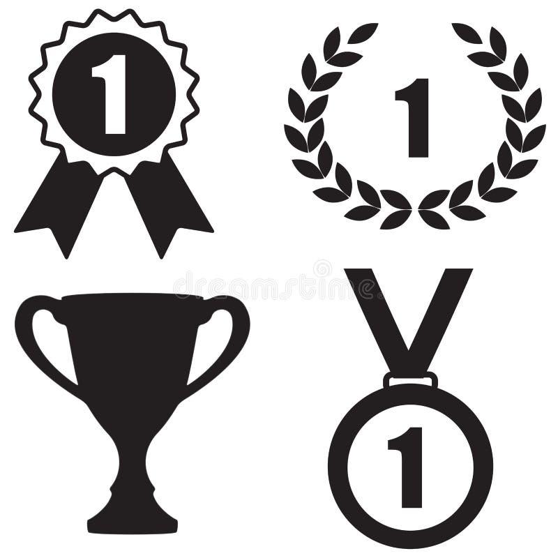 Preisikone eingestellt: Trophäenschale, Lorbeerkranz, Ausweis und Medaille stock abbildung