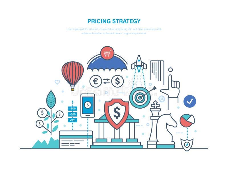 Preiskalkulationsstrategie Marketing-Politik, Wettbewerb in der Marktwirtschaft, Gewinn, Wachstum vektor abbildung