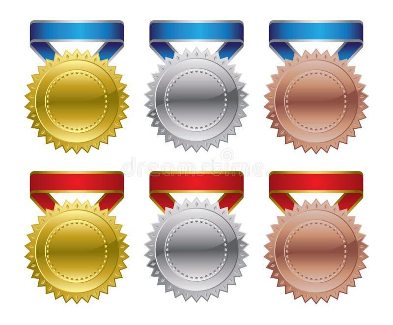 Preismedaillen - Gold, Silber, Bronze vektor abbildung