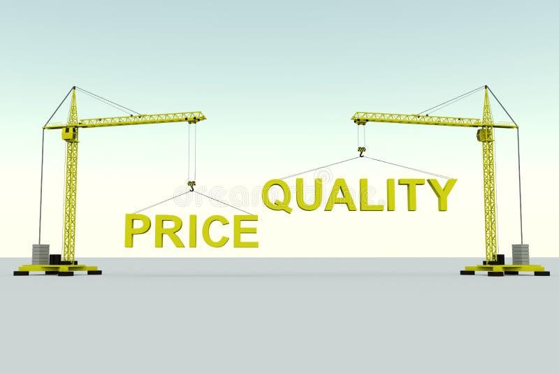 Preisqualitäts-Gebäudekonzept stock abbildung