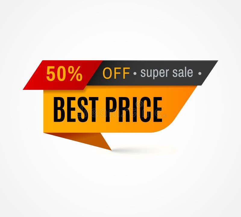 Preisschild Sonderangebotverkaufstag 50 weg vom Rabattaufkleber, Kleinausweisvektorschablone lizenzfreie abbildung