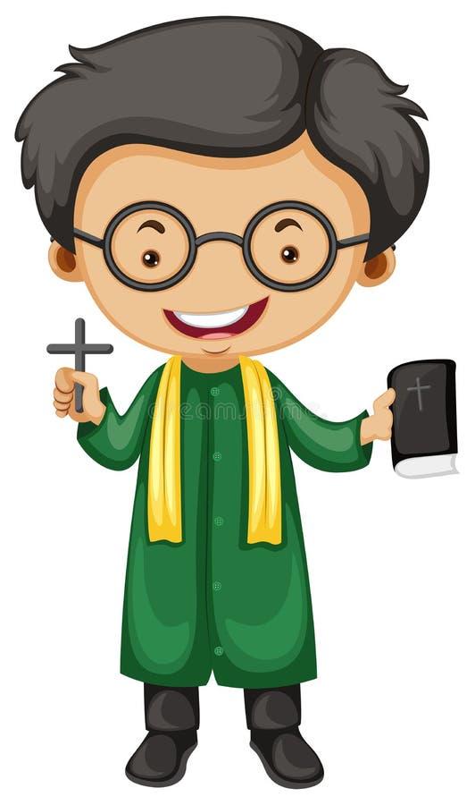Preist με τον ιερούς σταυρό και τη Βίβλο ελεύθερη απεικόνιση δικαιώματος