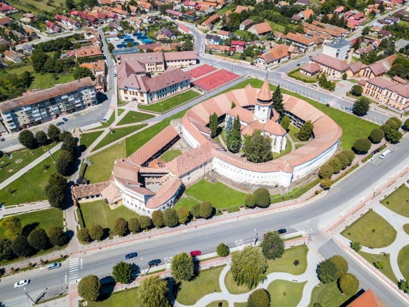 Prejmer加强了教会,布拉索夫县,特兰西瓦尼亚,罗马尼亚 免版税库存图片