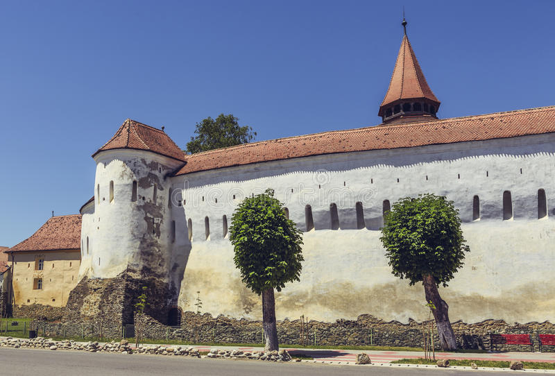 Prejmer fortified church, Romania. PREJMER, BRASOV, ROMANIA - JUNE 8, 2015: Prejmer fortified church, the largest in southeastern Europe, built by Teutonic stock images