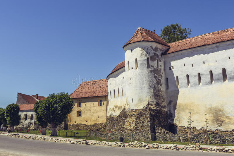 Prejmer fortified church, Romania. PREJMER, BRASOV, ROMANIA - JUNE 8, 2015: Prejmer fortified church, the largest in southeastern Europe, built by Teutonic royalty free stock image