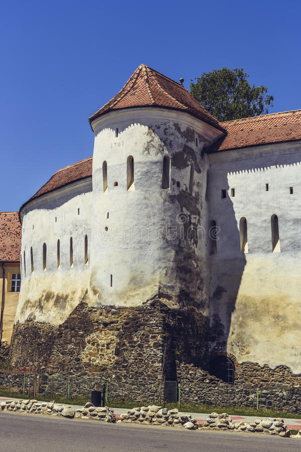Prejmer fortified church, Romania. PREJMER, BRASOV, ROMANIA - JUNE 8, 2015: Prejmer fortified church, the largest in southeastern Europe, built by Teutonic stock photo