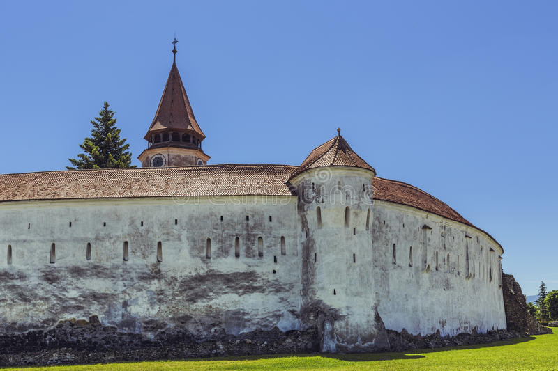 Prejmer fortified church, Romania. PREJMER, BRASOV, ROMANIA - JUNE 8, 2015: Prejmer fortified church, the largest in southeastern Europe, built by Teutonic stock image