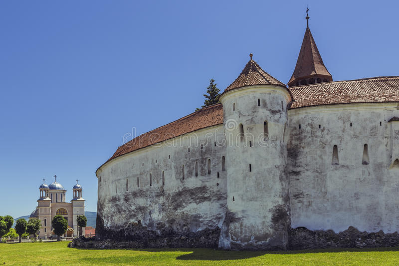 Prejmer fortified church, Romania. PREJMER, BRASOV, ROMANIA - JUNE 8, 2015: The Prejmer fortified church, the largest in southeastern Europe, built by Teutonic stock photos