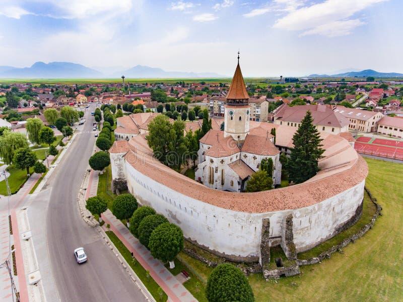 Prejmer Saksische Kerk, Transsylvanië, Roemenië stock foto's