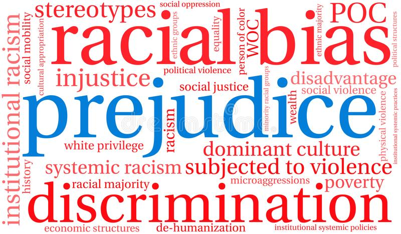 Prejudice Word Cloud. On a white background royalty free illustration