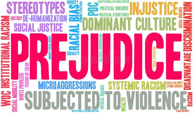 Prejudice Word Cloud. On a white background vector illustration