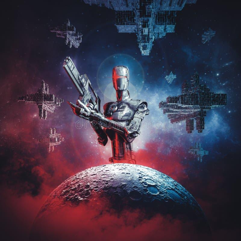 Prelúdio à guerra do espaço ilustração stock