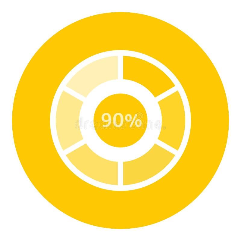 Preloader di web un'icona di 90 per cento, stile piano illustrazione di stock