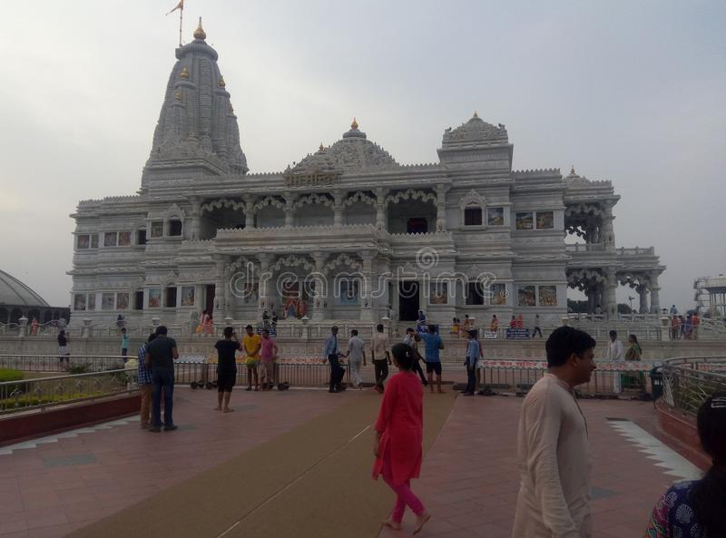 Prem Mandir Hindu Temple Vrindavan la India foto de archivo libre de regalías