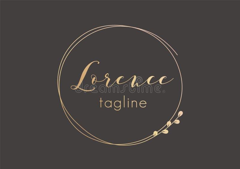 Premade golden logo design with minimalistic floral wreath. Feminine logotype template in elegant artistic style vector illustration