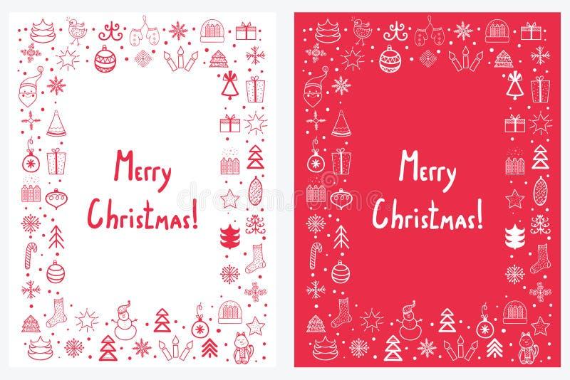 Premade handdrawn set bożych narodzeń i nowego roku karty z winte ilustracji