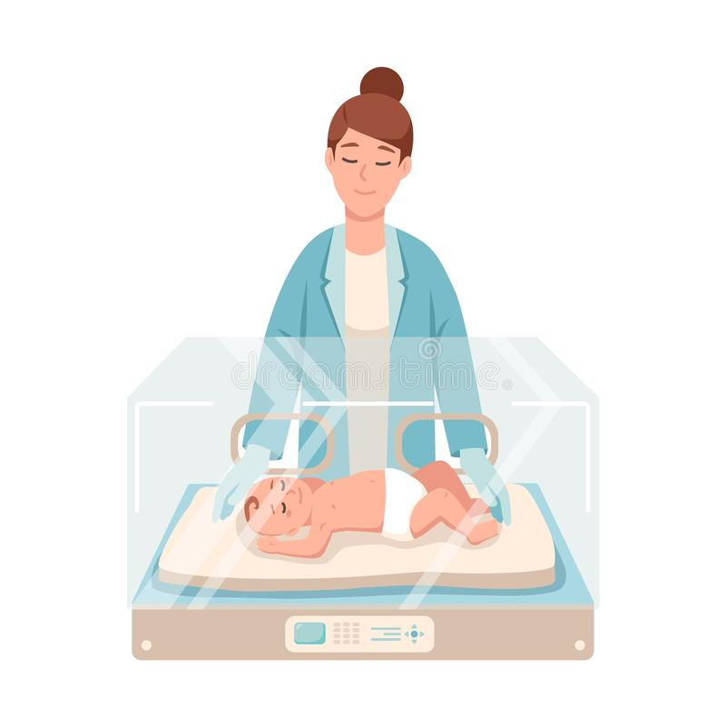Premature newborn infant lies inside neonatal intensive care unit, female doctor or pediatric nurse stands beside it and vector illustration