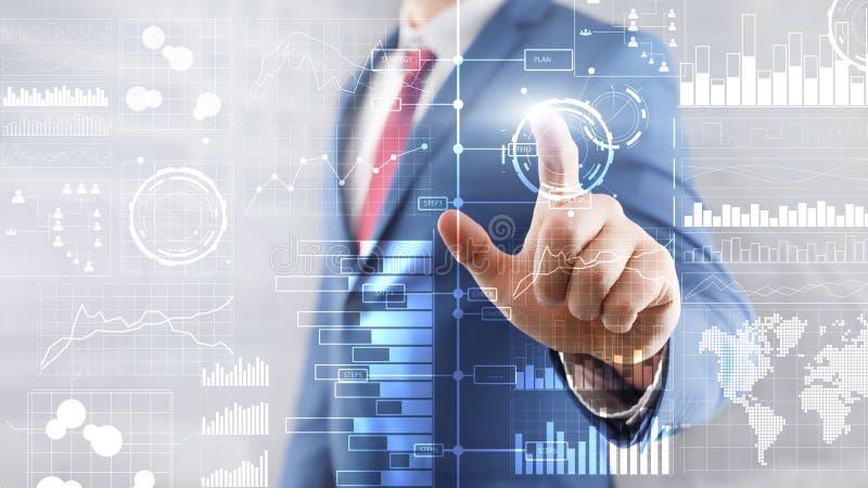 Preme un bottone virtuale Business intelligence Diagramma, grafico, commercio di riserva, cruscotto di investimento, trasparente illustrazione vettoriale