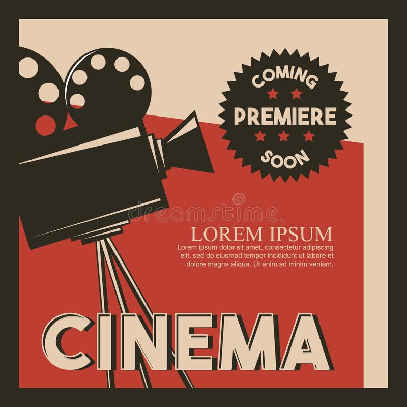 Premiär för film för kamera för stil för bioaffisch retro stock illustrationer