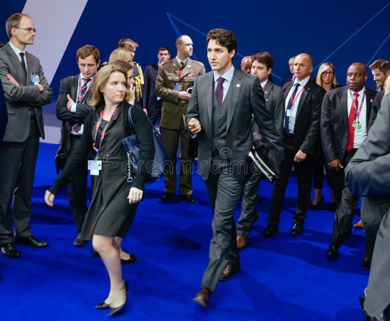 Premiärminister av Kanada Justin Trudeau på NATO-sammit royaltyfri foto