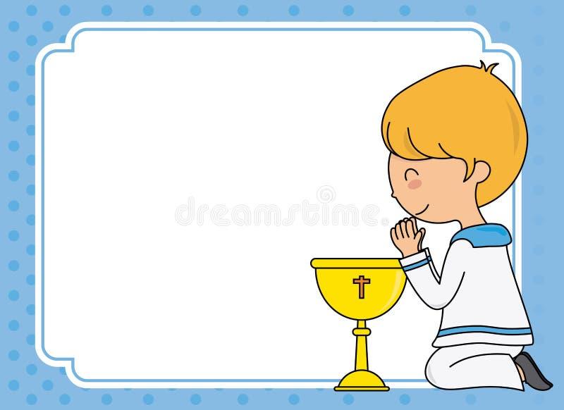 Première carte de communion Prière de garçon illustration de vecteur