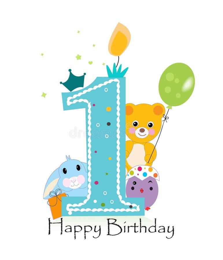 Première carte de voeux d'anniversaire L'ours, le lapin et le poussin de nounours dirigent le fond illustration de vecteur